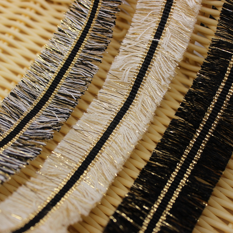 9 yards 3.0 cm Tassel Lace Trims Webbing Gold Black Ribbon DIY Crafts for Clothing Apparel Sewing Accessories Lace Fabric Cusack
