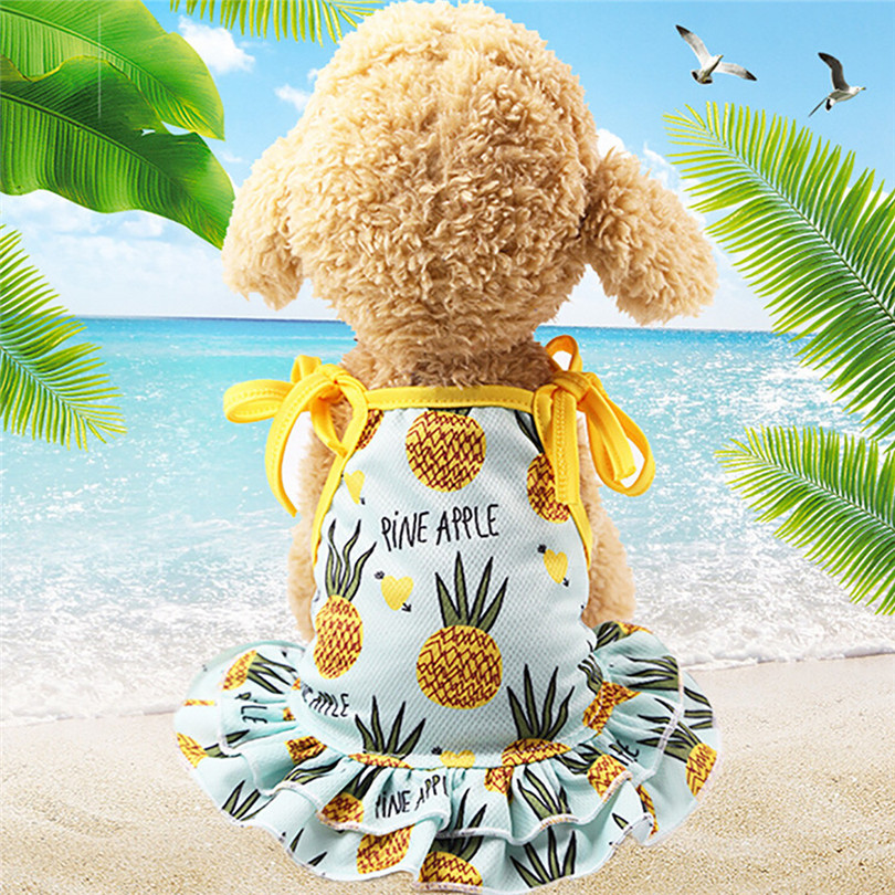 Pet Dogs Dress Breathable Polyester Fruit Print Pet Couples Dress Puppy Dog Princess Lovely Strawberry Pineapple Dress (3)