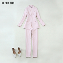 2019 New 2 Piece Set Women Long Sleeve Slim Blazer Tops And Pants Women's Office Suits Spring autumn Casual Pink Suit Female цена