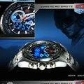 2016 Dos Homens Negros de Aço Inoxidável militar Binário Azul LED Ponteiro Assista Mens 3 Relógios esportivos Prova D' Água