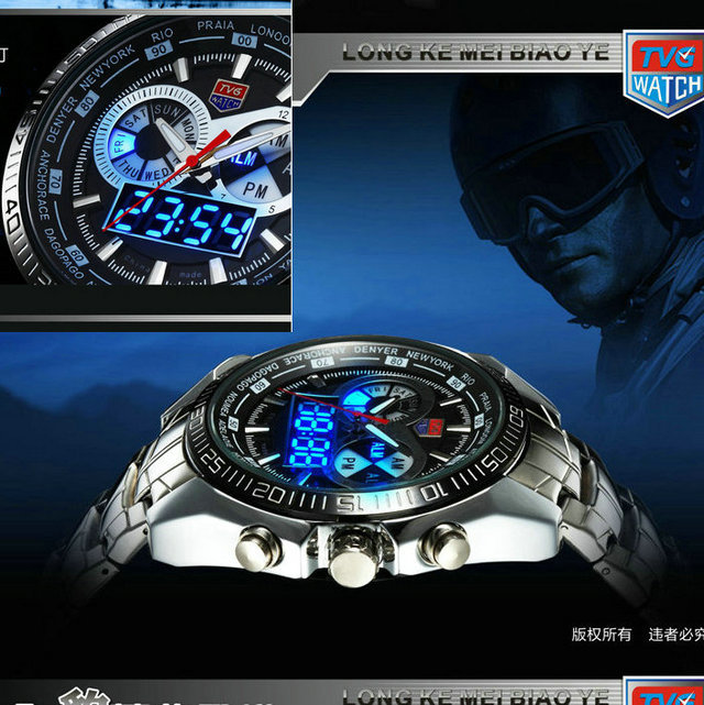 2016 Stainless Steel Black Men's military  Blue Binary LED Pointer Watch Mens 3AM Waterproof sports Watches stylish 8 led blue light digit stainless steel bracelet wrist watch black 1 cr2016
