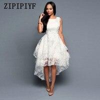 ZIPIPIYF Summer Asymmetrical Dress 2017 Women O Neck Sleeveless Sweet Ball Gown White Organza High Low