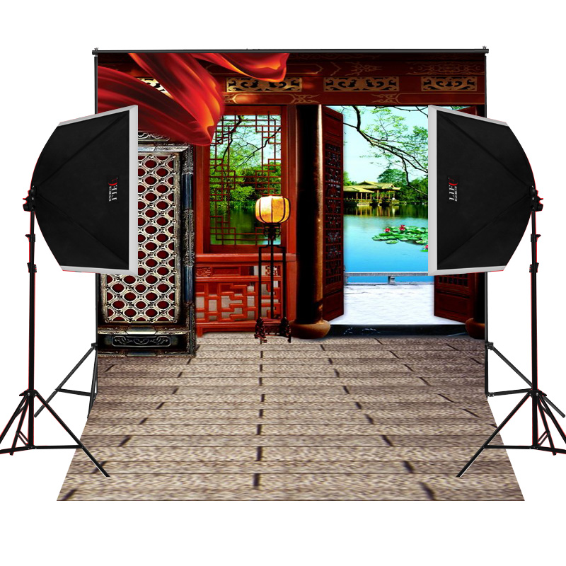 Gate lights pond scenic for kids photos camera fotografica studio vinyl photography background backdrop cloth digital props
