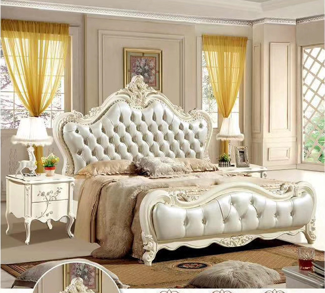 Modern european solid wood bed Fashion Carved  1.8 m bed  french bedroom furniture DCXB833