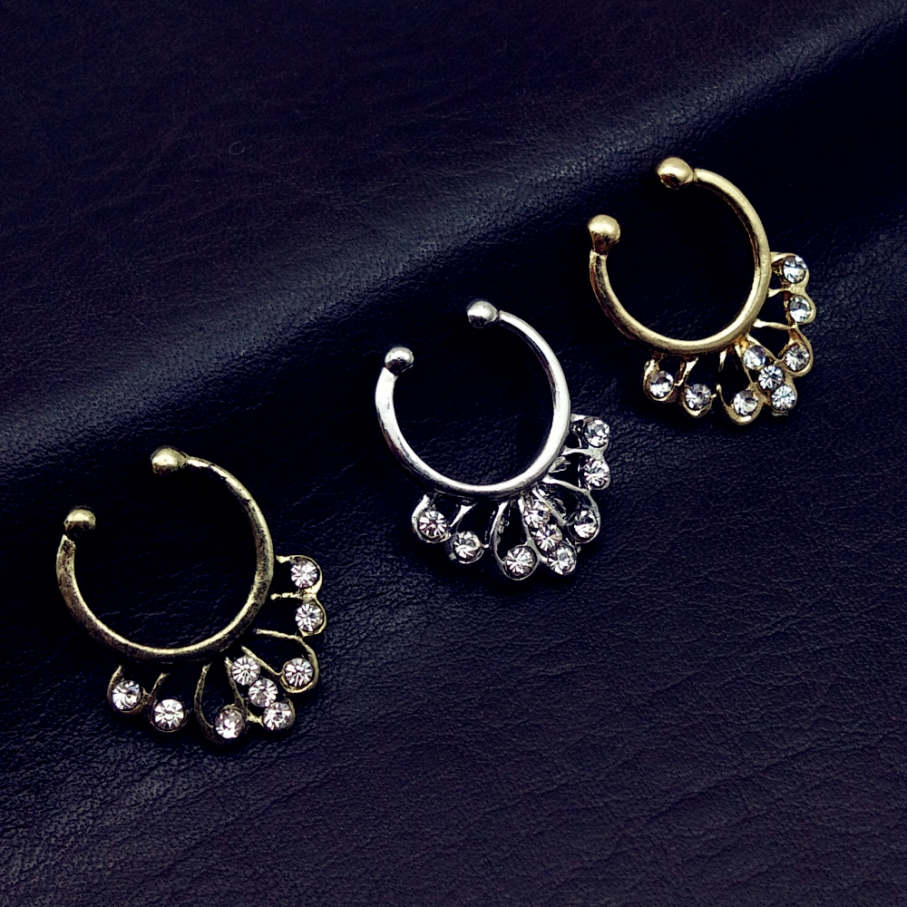 1pc Non-Piercing Single CZ Gem Septum Hanger Clip-On Fake Nose Ring Body Jewelry