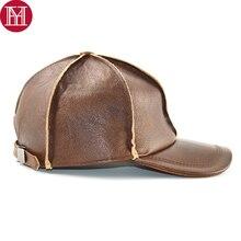 Venta caliente nuevos hombres cuero genuino Real gorras de béisbol marca  Casual cuero Natural sombrero de otoño invierno 100% cu. 7a13735e2f5