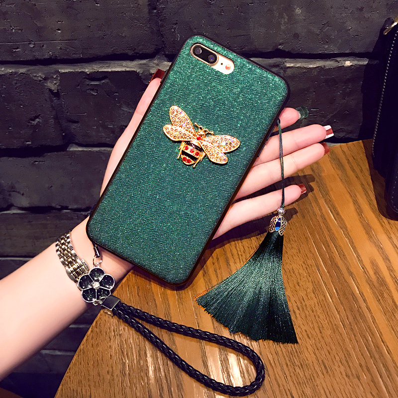 Fashion Beautiful 3d Bee With Lanyard Phone Cover Case For Iphone X Xs Max Xr 10 8 7 6 6s Plus Luxury Pu Leather Coque Fundas