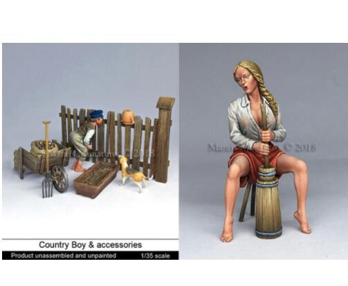1/35 Country Boy With Accessories AND Pretty Girl  Resin Model Miniature  Figure Unassembly Unpainted