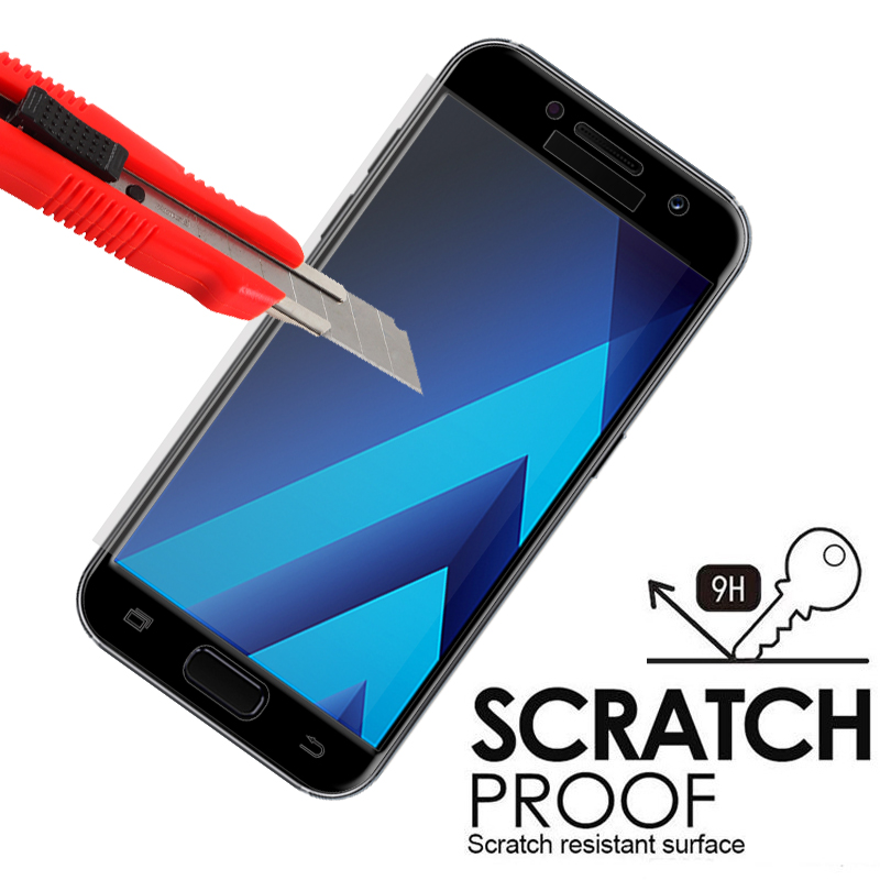 Image 4 - Protective glass on for samsung galaxy a5 a7 2016 2017 samsyng a6 a8 plus 2018 a3 a 5 7 5a samsumg screenprotector tremp glasses-in Phone Screen Protectors from Cellphones & Telecommunications