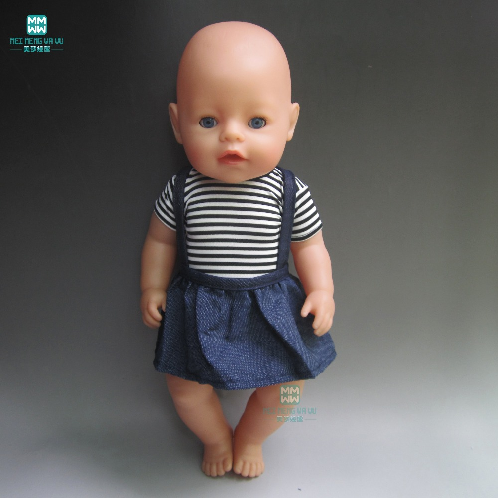 clothes for dolls fits 43 cm Baby Born zapf baby fashion Striped T Shirt Belt Pantsfor