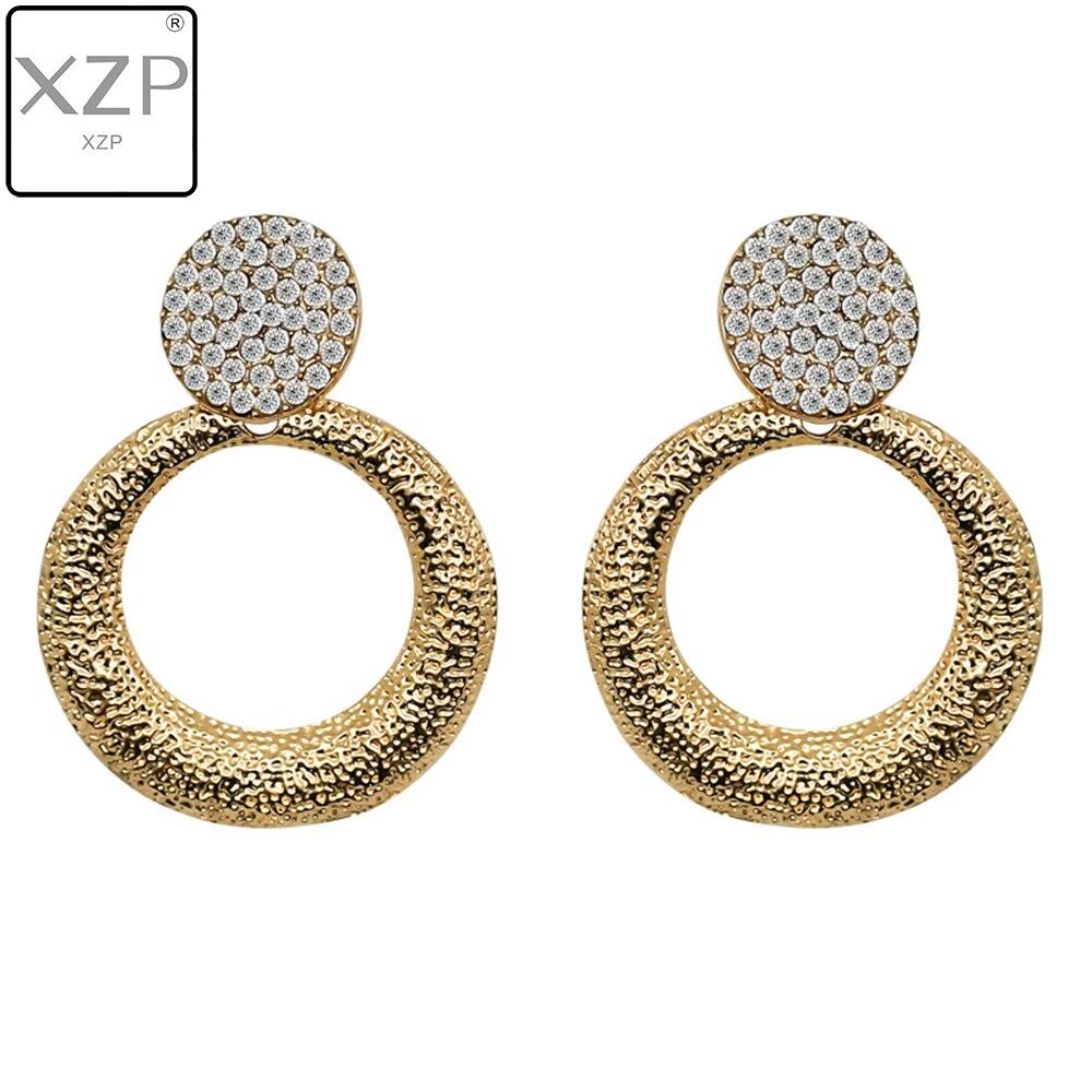 XZP Round Vintage Earrings for Women of Gold silver Earrings Fashion Jewelry Earrings Declaration 2019 Modern Fashion Jewelry in Drop Earrings from Jewelry Accessories