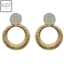 XZP Round Vintage Earrings for Women of Gold/silver Fashion Jewelry Declaration 2019 Modern