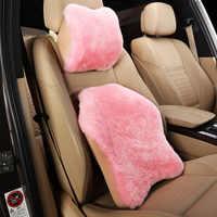 Bộ nhớ bông tinh khiết len tựa đầu xe eo hỗ trợ xe gối đặt chỗ cổ hỗ trợ cushion đối với xe nội thất phụ kiện