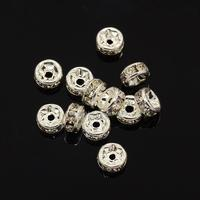 Brass Rhinestone Spacer Beads, Grade AAA, Straight Flange, Nickel Free, Silver Metal Color, Rondelle, Crystal, 5x2.5mm, Hole: