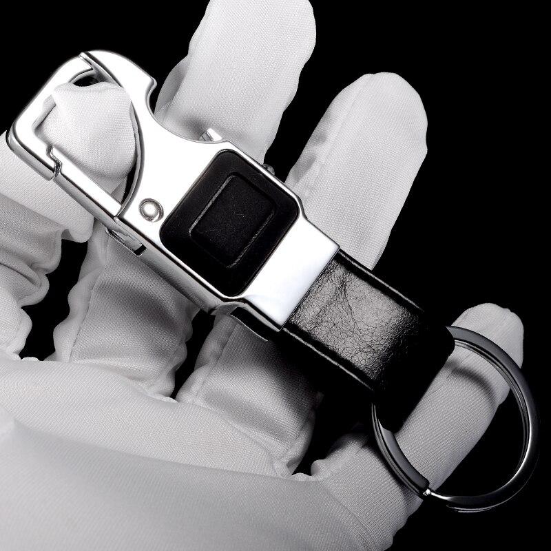 QOONG Özel Yazı Erkekler Deri Anahtarlık Metal Araba Anahtarlık - Kostüm mücevherat - Fotoğraf 5