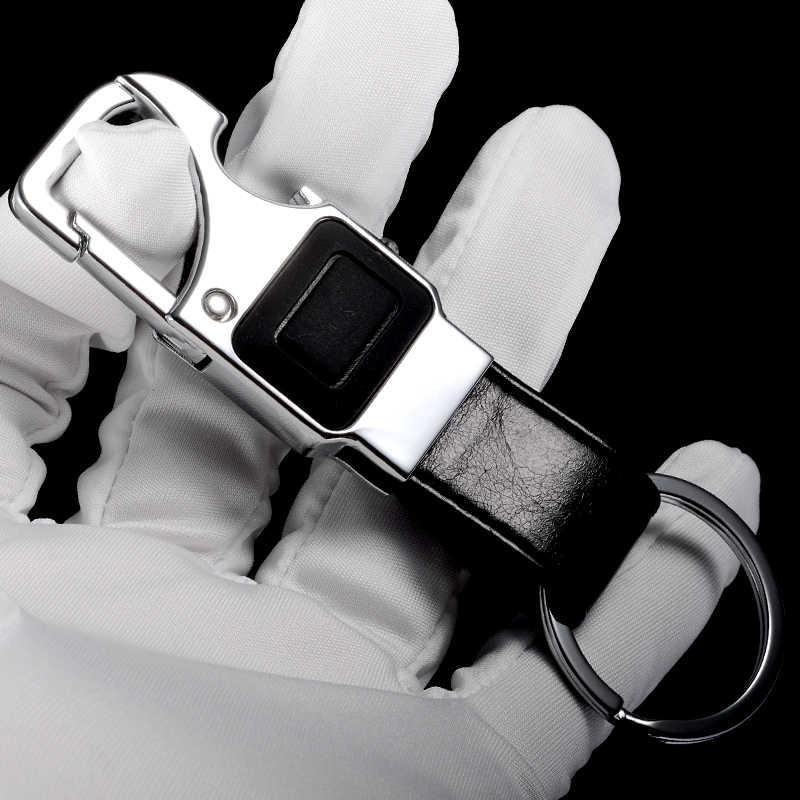 QOONG пользовательские надписи для мужчин кожаный брелок металлический ключ для авто кольцо многофункциональный инструмент держатель ключа СВЕТОДИОДНЫЙ, открывалка для бутылок брелок Y16