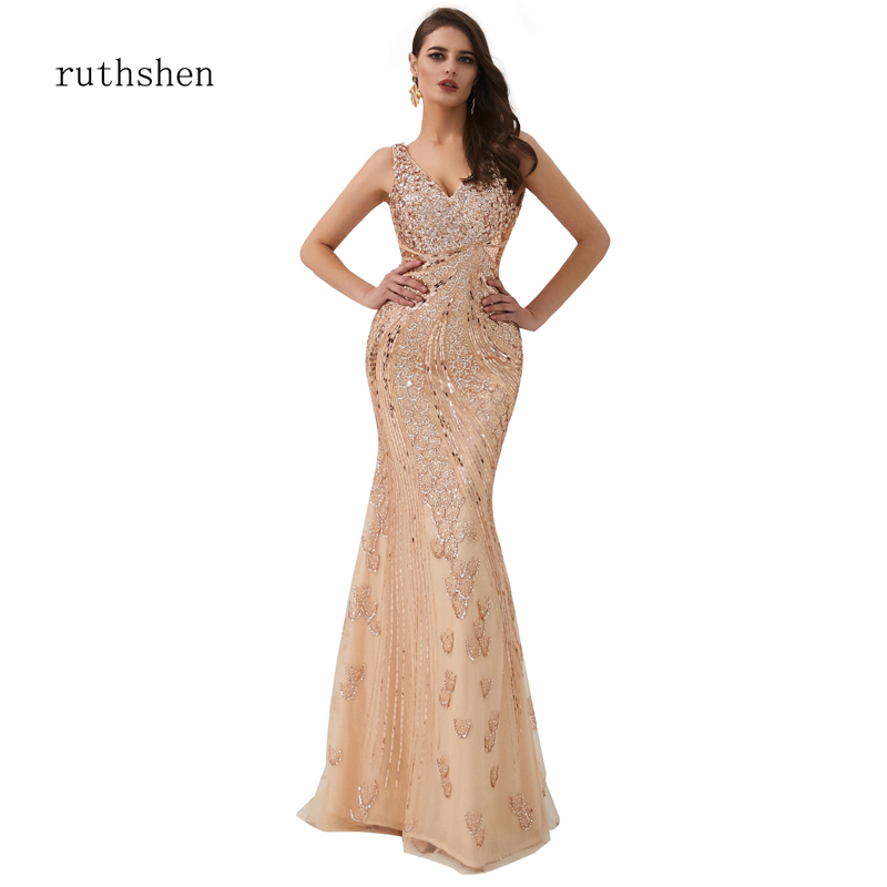 ruthshen Rose Gold Luxury   Evening     Dress   Formal Sweep Train Full Sequine Sleeveless Backless Curved Slim Sexy Mermaid   dresses
