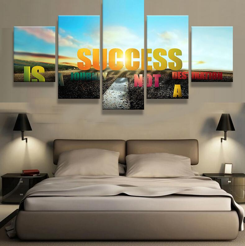HD Print 5pcs Canvas Art Inspirational Motivational Quote Wall Painting Home Decor Living Room