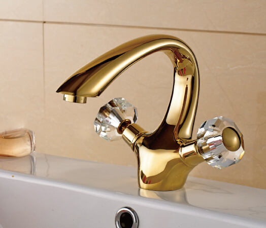 Christmas Crystal Handles Gold Ti-PVD Brass Bathroom Vanity Sink / Basin Torneira Banheiro Cozinha Faucets Mixers Taps(UP-6652K)Christmas Crystal Handles Gold Ti-PVD Brass Bathroom Vanity Sink / Basin Torneira Banheiro Cozinha Faucets Mixers Taps(UP-6652K)