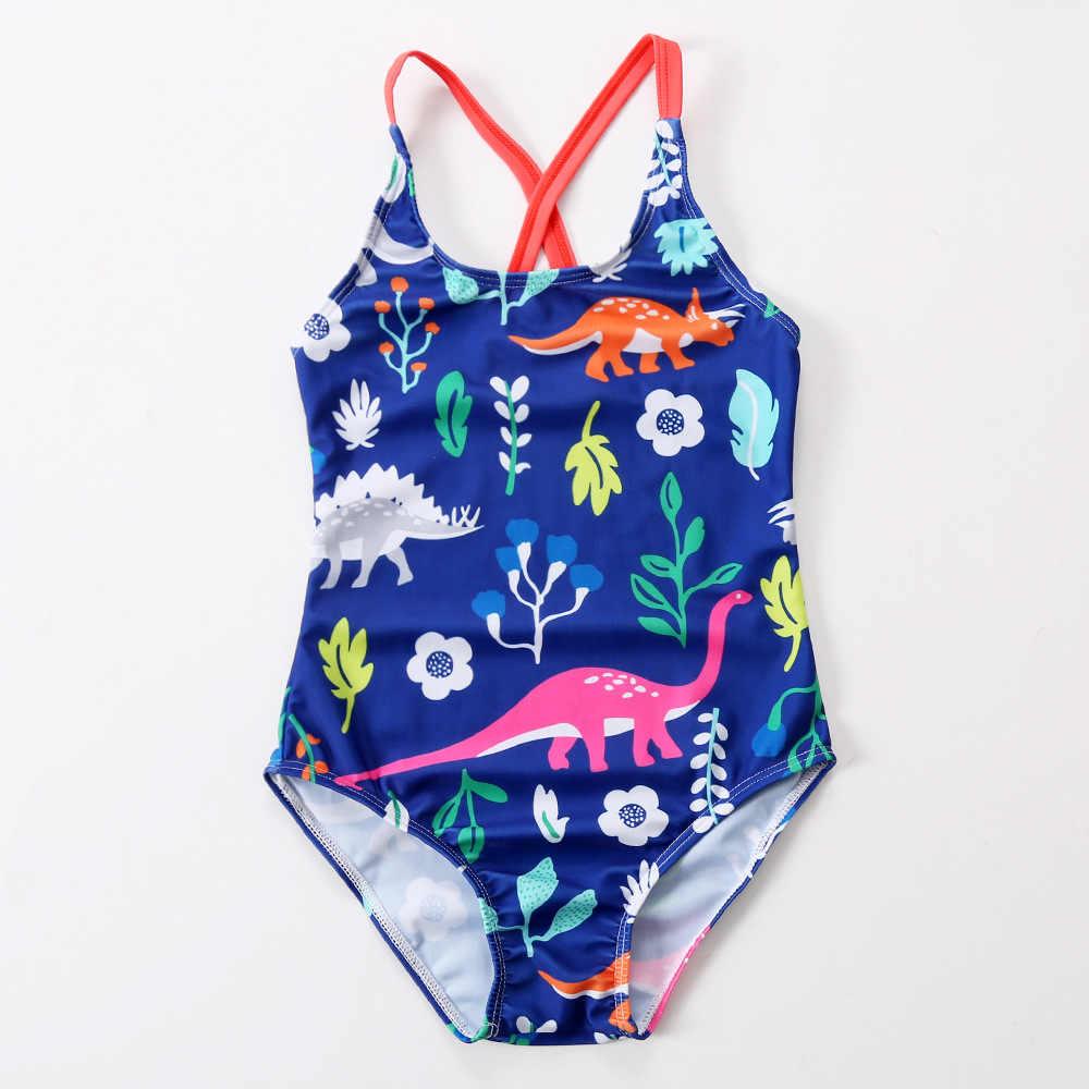 819533ca50cbe One Piece Swimsuit Girl Cute Cartoon Dinosaur Swimwear Children Baby Girl  Swimming Clothes Fish Pattern Kids