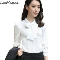 Mulheres Formais Blusa Outono Elegante Fêmea Blusa Estilo Coreano Arco colarinho da camisa OL Senhoras de escritório moda plus size desgaste do trabalho topos