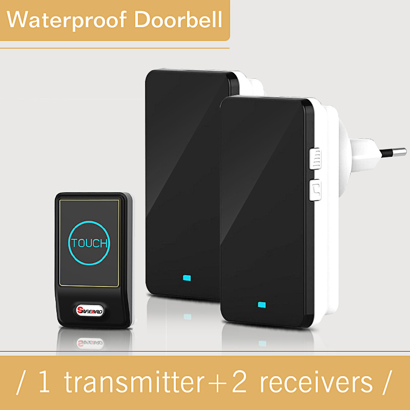 Touch Doorbell with EU/US Plug-in Wireless Waterproof Door Bell touch button 28 Chimes 1 Ourdoor Transmitter + 2 Indoor Receiver wireless home security door bell call button access control with 1pcs transmitter launcher 1pcs receiver waterproof f3310b