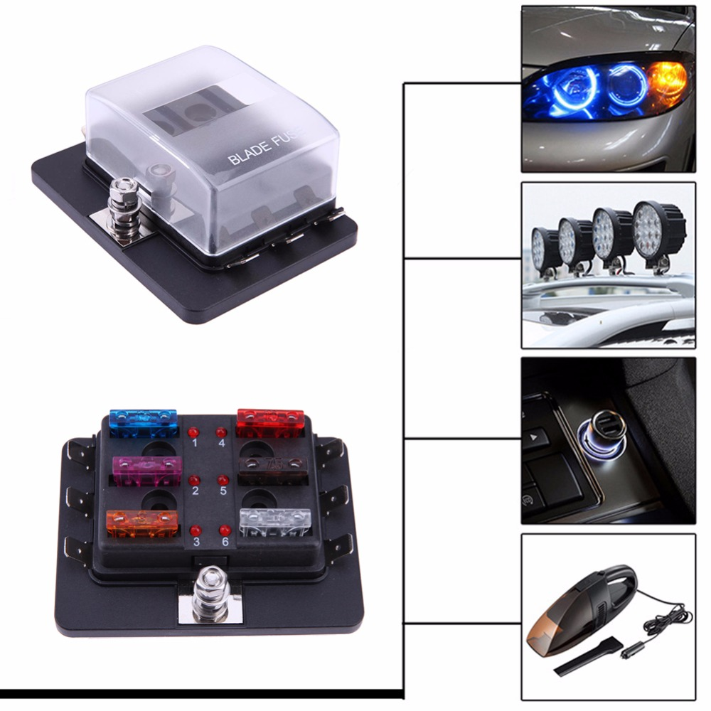 12-32V Circuit Standard ATO ATC Blade Fuse Box Block Auto Car Boat 6 Way with LED Warning Light Kit for Car Boat Marine Trike