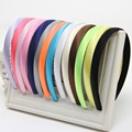 Girls Hair Clasp For Women Colored Satin Covered Resin Hairbands Ribbon Covered HeadBand 1.5cm Head Hoop Hair Accessory 5pcs/lot