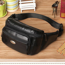 2016 New genuine leather men's multifunction travel waist bags men casual small waist pack  bags