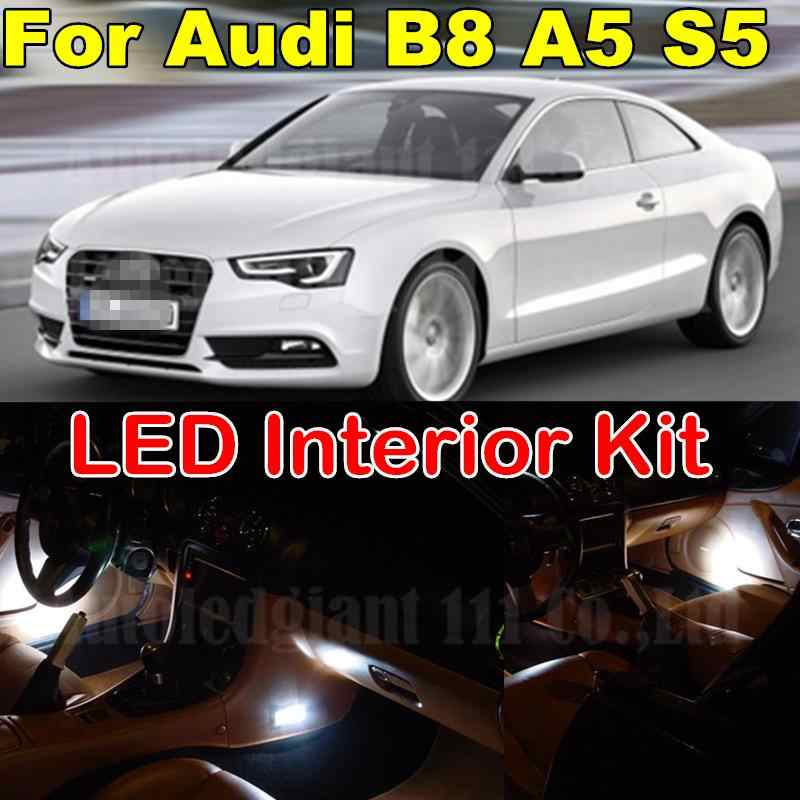 WLJH  White Canbus No Error Interior Dome Vanity Mirrors Lighting Package for Audi A5 B8 S5 RS5 LED Interior Light kit 2008+ 12X