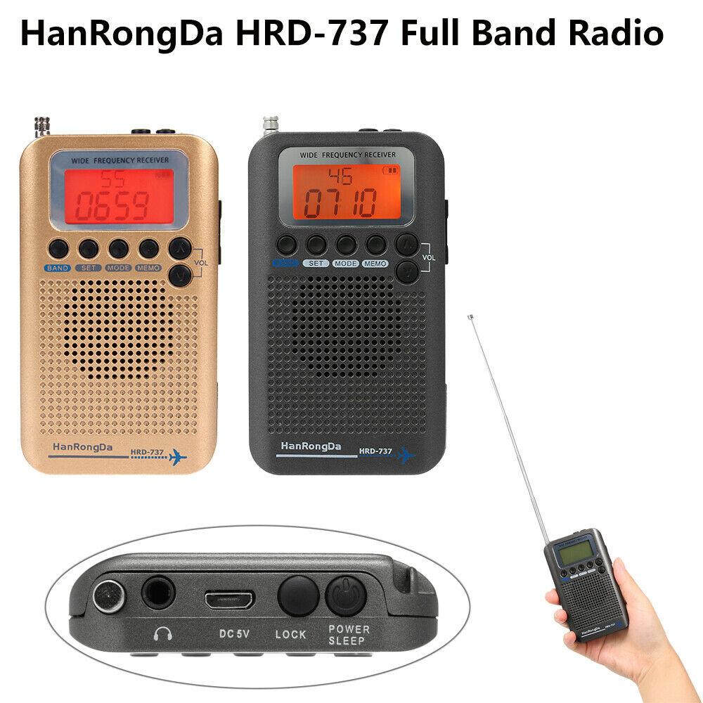 Récepteur FM/AM/SW/CB/Air/VHF de bande d'aéronef de Radio de bande complète portative de HRD-737 avec le réveil d'affichage à cristaux liquides