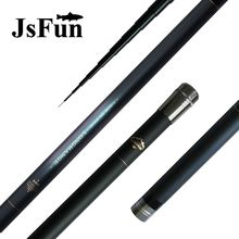 JSFUN Telescopic full carbon fiber fishing rod 8M 9M 10 M 11M 12M long ultra hard hand stream taiwan fishing rod pole FG66