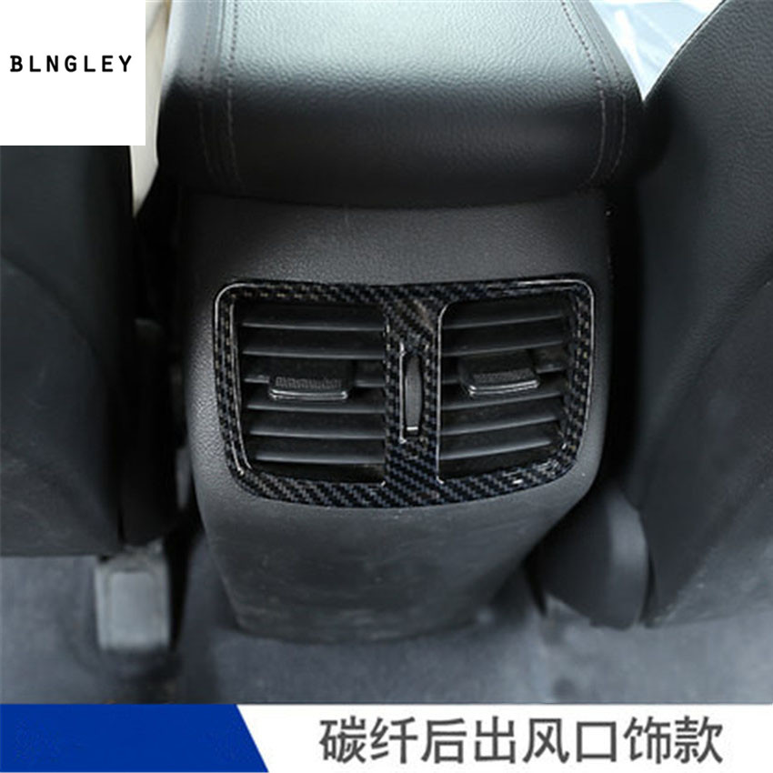 Free shipping 1pc stainless steel carbon fiber grain rear air conditioning outlet decoration cover for <font><b>2018</b></font> <font><b>hyundai</b></font> <font><b>Tucson</b></font> image
