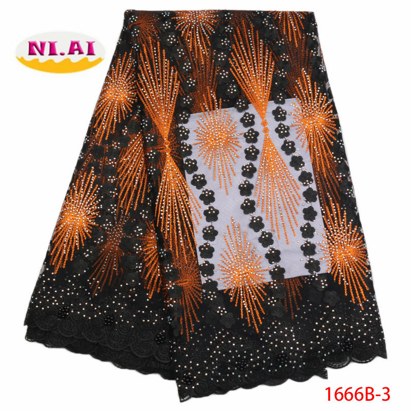 2019 Hot Sale Black Embroidered African Lace Fabric High Quality With Rhinestone French Net Guipure Lace