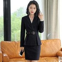 Women's suit skirt suit women's fashion slim stripe set two piece (jacket + skirt) ladies business office business wear