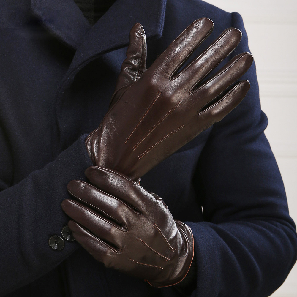Mens gloves fashion - Autumn Winter Men S Genuine Leather Gloves Male Warm Velvet Lined Touchscreen Sheepskin Gloves Driving Touch Mittens Em011nc2 In Gloves Mittens From Men S