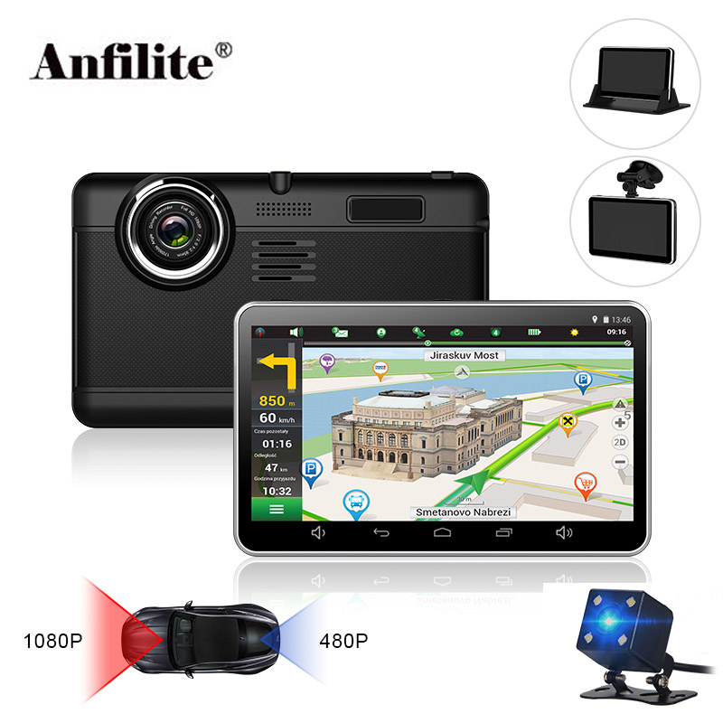 Anfilite H55 7 inch Capacitive Android car GPS Navigator Quad Core 16GB car DVR dash cam dual cameras 1080P record free maps(China)