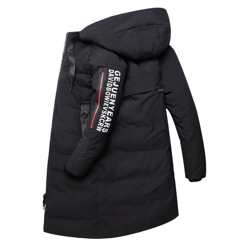 2019 nouveaux vêtements pour hommes hiver chaud doudoune à capuche épais Long mince canard vers le bas manteau mâle rouge noir marque vêtements grande taille 5XL-in Doudounes from Vêtements homme    3