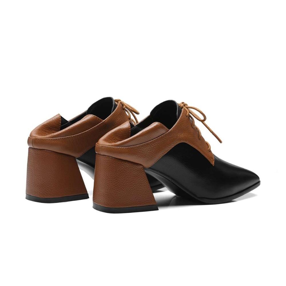Con Pie L01 Tacones chocolate Negro Cuero Bombas Colores Retro Zapatos Dedo Gruesos De Británico Encaje 2019 Cuadrado Real Mezclados Calidad Saliendo Del Alta Vaca Estilo qSaRBv
