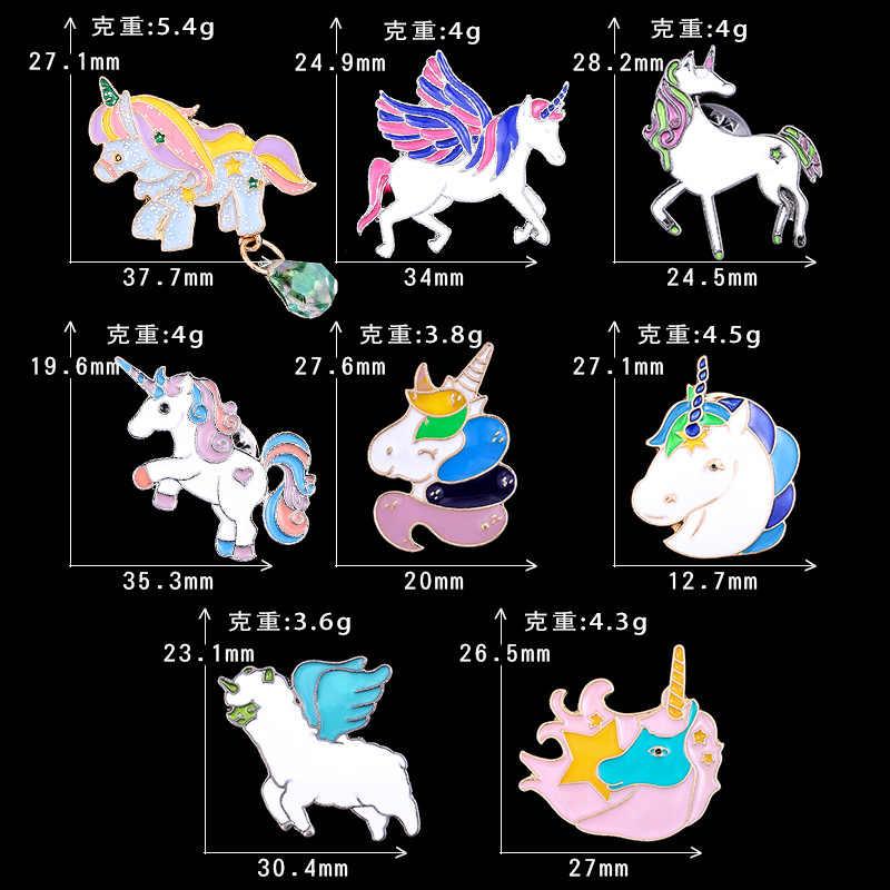 2019 Hot Fahsion Kartun Colorful Unicorn Pegasus Enamel Bros Lencana Manis Lucu Kepala Kuda Bros Pin Wanita Korsase Perhiasan