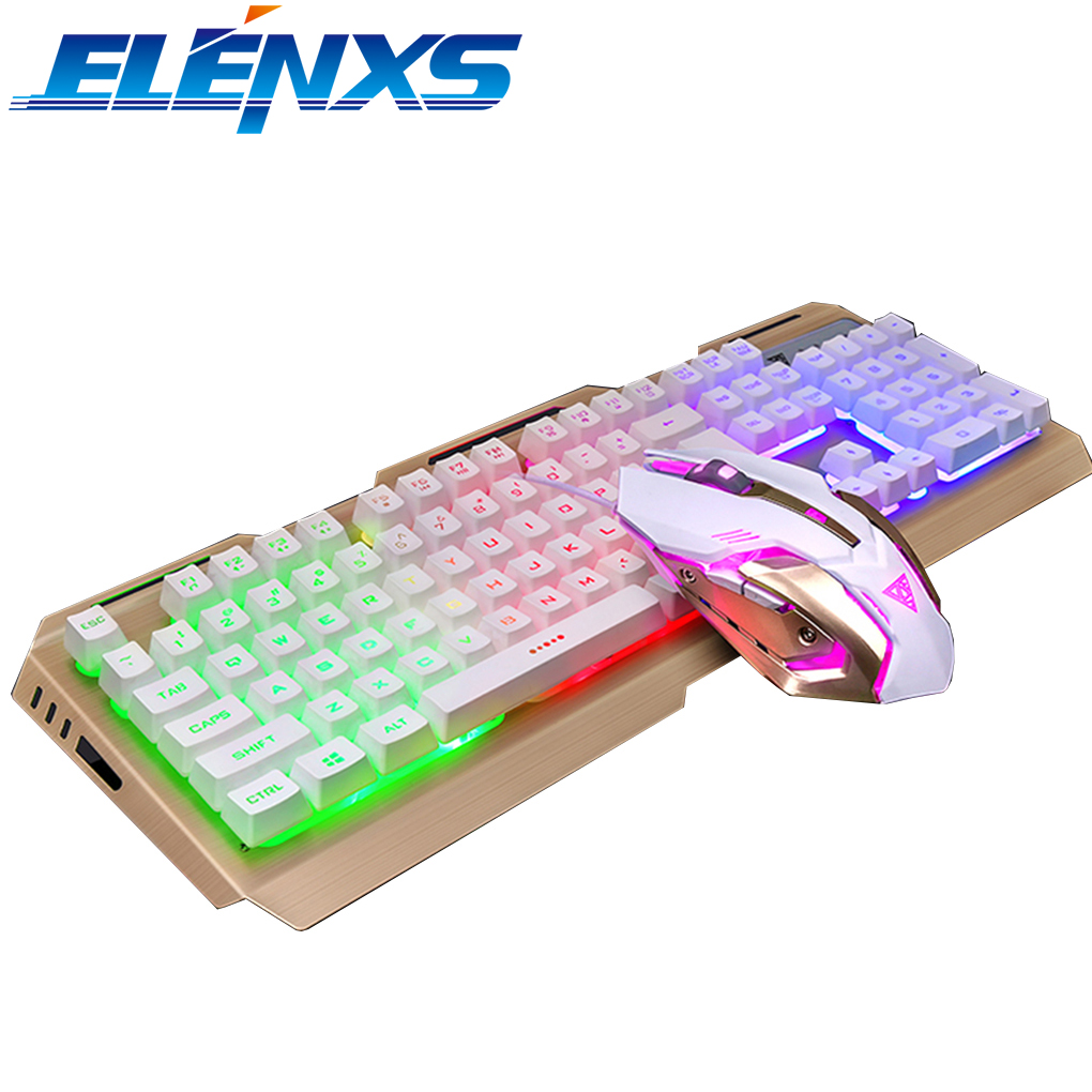 ELENXS Rainbow Backlit Gaming Keyboard and Mouse USB Wired Keyboard and Optical Mouse Set Mechanical Feel Mutilmedia Keys