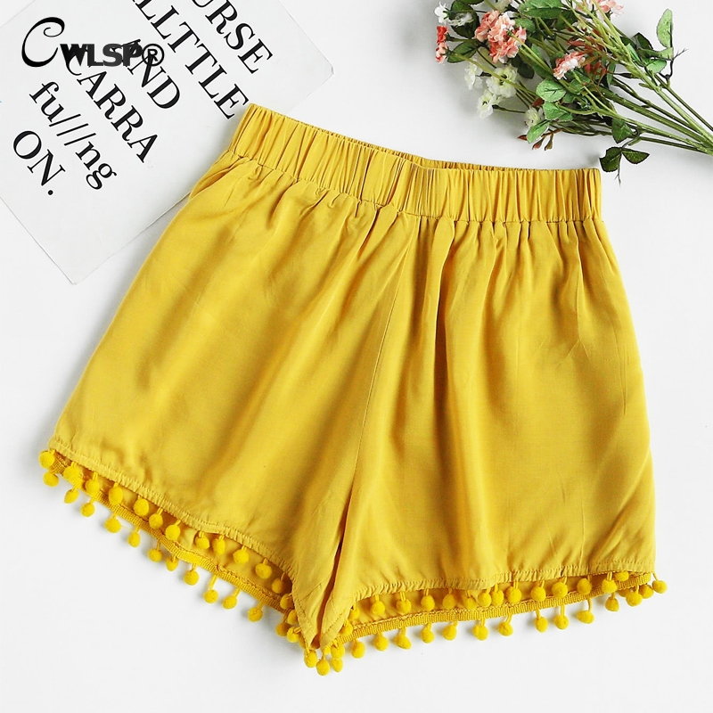 CWLSP Tassel Elastic Waist Summer High Waist   shorts   for women Cotton Patchwork Korean style Casual Soft   Short   feminino QL3857