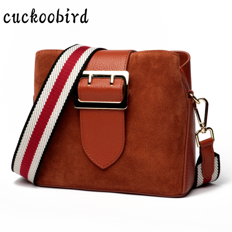 Luxury Brand Designer Bucket Bag Women Genuine Leather Wide Color Strap Shoulder bag Handbag Large Capacity Crossbody Bags