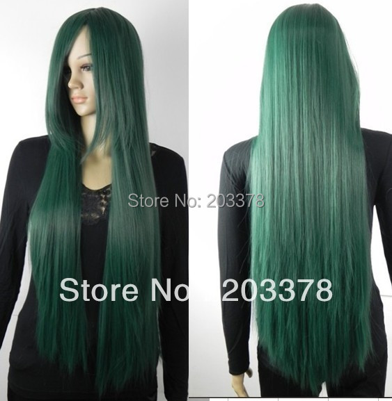 Long straight 100cm Dark Green Cosplay Wig (Free Shipping)