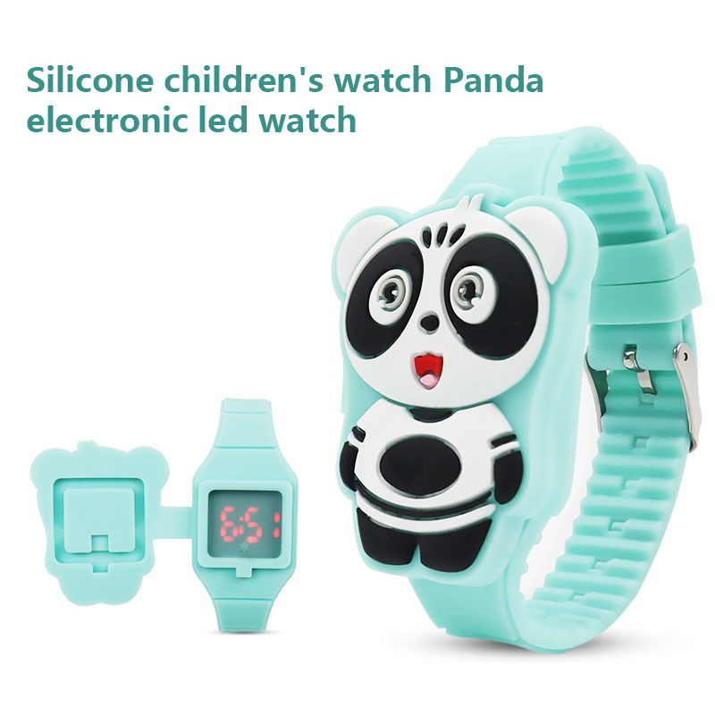 1 Pcs Kids LED Electronic Watch Silicone Band Cartoon Panda Flip Case Wrist Watch Lovely Gift LXH