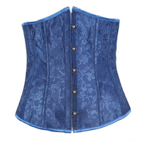 Sexy Floral Gothic Underbust Corset and Waist Cincher Bustiers Top Blue Workout Shape Body Belt Plus size Lingerie High Quality