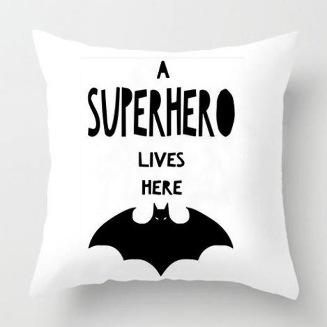 Modern Home Decor Batman Pillow Decoration Plush Fabric Black And White Simple Letter Print Throw Cushion Almofadas For Car