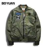 BOYUAN Brand Spring Jackets Men Bomber Jacket Fashion Print Patch Designs Pilot Men Coat Black Army