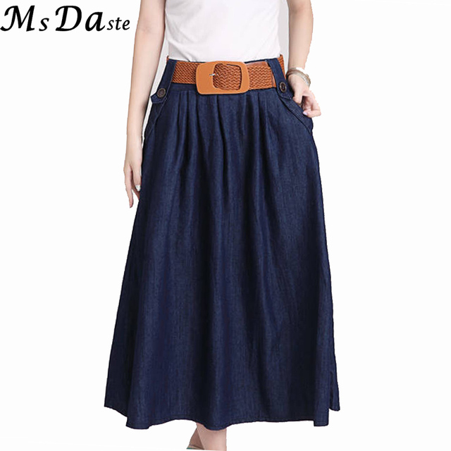 4c1db6a6723 Belted 2018 long jeans skirt for women plus size big summer casual vintage woman  denim skirt mid-calf length lady skirt Saia