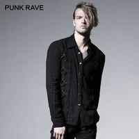 PUNK RAVE Rock Fashion Curde Grain Punk Heavy Vintage Metal with Iron Hoop Men Black Long Sleeve Men Shirts Tops Harujuku